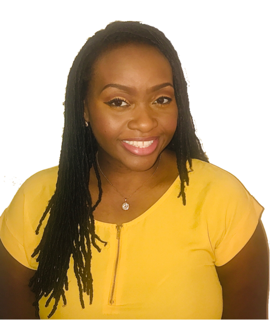 black woman smiling with mustard yellow shirt